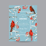 Winter Birds and Berries Frame or Card - in Watercolor Style Stock Photo
