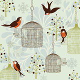 Winter Birds, Birdcages and Trees Stock Image