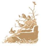 Winter birds engraving (vector) Royalty Free Stock Photos