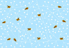 Winter birds on heart branches stock illustration