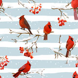 Winter Birds with Rowan Berries Retro Background - Seamless Pattern Stock Photo