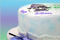 Winter birthday cake Royalty Free Stock Photos