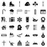 Winter birthday icons set, simple style Stock Image