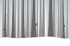 Winter black forest. Winter forest illustration. Christmas snow nature background. Snowfall and dark trees bark. Tall woods in the snow. Forest of fir-trees Stock Photo