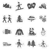 Winter Black Icons Set. Winter decorative icons set with snowman fir tree and skiing children black and white abstract isolated vector illustration Royalty Free Stock Photography