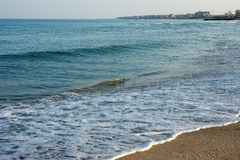 Winter Black Sea beach in Pomorie, Bulgaria Stock Image