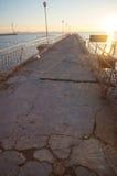 Winter Black Sea pier in Pomorie Stock Photos