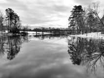 Winter in Black and White. A winter scene at a lake in North Carolina. Shown in black and white Stock Images