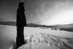 Winter black and white landscape Royalty Free Stock Image