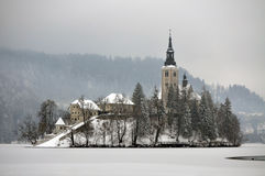 Winter in Bled Stock Images