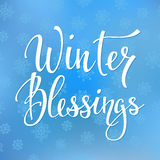 Winter Blessings Quote typography. Calligraphy style. promotion motivation. Graphic design lifestyle lettering . Cold Season sign Royalty Free Stock Photos