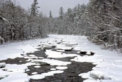 Winter blizzard. Winter storm in the White Mountains of New Hampshire along the swift river Royalty Free Stock Photo