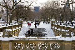 Winter-Blizzard im Central Park, New York City Stockfotos
