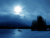 Winter in blue. Winter landscape stock photography