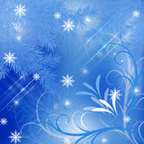 Winter blue abstract background . Winter blue abstract background with snowflakes Stock Photo