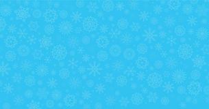 Winter blue background. Fallen snowflakes. Christmas or new year template with space for text. Vector illustration, banner, poster stock illustration