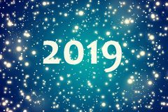 2019. Winter blue background with the falling snow flakes. 2019. Winter dark blue background with the falling snow flakes. snowfall. festive background, new year royalty free illustration