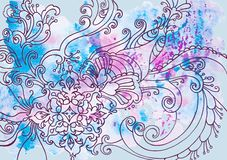 Winter blue background with patterns and watercolor stains royalty free stock images