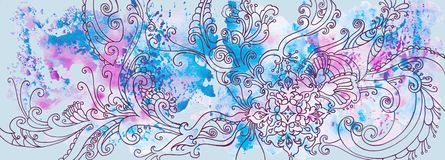 Winter blue background with patterns and watercolor stains stock image
