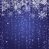 Winter blue background with snowflakes Stock Photo