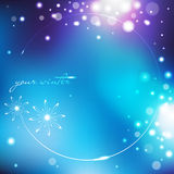 Winter blue background with snowflakes Stock Photos