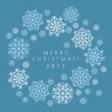 Winter blue background with snowflakes. Vector Illustration. Vector illustration, template for Christmas greeting Royalty Free Stock Photos