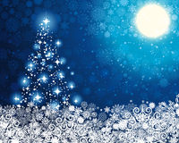 Free Winter Blue Background With Christmas Tree. Stock Images - 15654764
