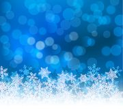 Winter blue bokeh xmas background with snowflakes. Christmas bokeh holiday decoration for greeting card.  Stock Image
