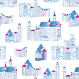 Winter blue castles vector seamless pattern Royalty Free Stock Photography