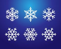 Snowflakes line set white color Royalty Free Stock Photos
