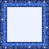 Winter blue frame with stylized snowflakes. Beautiful winter blue frame with white stylized snowflakes. Christmas and New Year celebratory card with place for Royalty Free Stock Photos