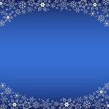 Winter blue frame with white snowflakes Stock Photography
