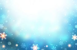Winter blue glare empty background decorated snow, sparkles and snowflakes. Christmas trend. New Year festive illustration. Stylish image for a variety of Royalty Free Stock Photography