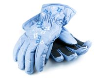 Winter blue gloves. Isolated on white background royalty free stock image