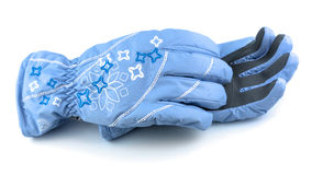 Winter blue gloves Royalty Free Stock Images
