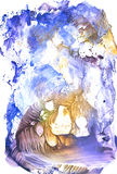Winter blue gouache monotypy painting royalty free stock photo