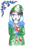 Winter blue hairstyle girl in hat and coat with rabbit Royalty Free Stock Images