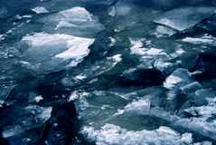 Winter blue ice, frozen river Royalty Free Stock Image