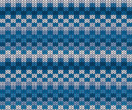 Winter blue knitted pattern, vector  Stock Photos