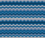 Winter blue knitted pattern, vector  Stock Photo