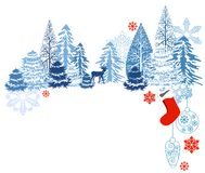 Winter blue landscape stock illustration