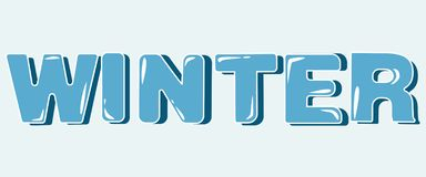 Winter blue lettering vector in capital letters with shade stock illustration