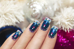 Winter blue manicure. Stock Images