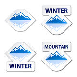 Winter blue mountain stickers Stock Images