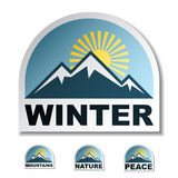 Winter blue mountain stickers Stock Image