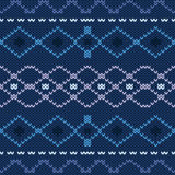 Winter blue Scandinavian traditional knitted seamless pattern. Background for Christmas and New Year cards Royalty Free Stock Photos