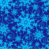 Winter blue seamless pattern with snowflakes Stock Photo