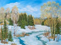 Winter blue sky landscape with river. Russia. Original oil painting. royalty free illustration