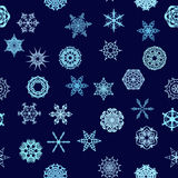 Winter blue snowflakes pattern. May be used as decorative christmas pattern Royalty Free Stock Images