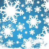 Winter blue and white christmas background / texture with snowflakes and white snow grunge Royalty Free Stock Image